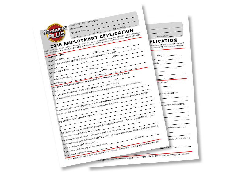 Employment Application - Go-Karts Plus - Williamsburg, VA Family Fun & Birthdays